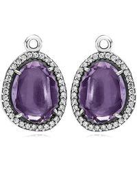 PANDORA - Glamorous Legacy Silver Amethyst & Cz Earring Charms - Lyst