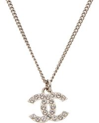 Chanel - Silver-tone Crystal Cc Necklace - Lyst