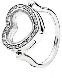 PANDORA Silver Cz Floating Heart Locket Ring - Multicolour