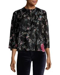 Plenty by Tracy Reese - Smocked Crewneck Blouse - Lyst