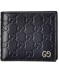 Gucci - Navy Ssima Leather GG Wallet - Lyst