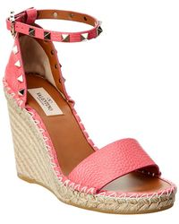 Valentino - Rockstud Double Leather Espadrille Wedge Sandal - Lyst