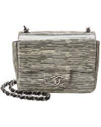 12b36ebad4d314 Chanel - Limited Edition Black & White Patent Leather Mini Half Flap Bag -  Lyst