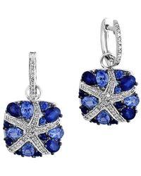 Effy - Fine Jewelry 14k 0.28 Ct. Tw. Diamond & Sapphire Drop Earrings - Lyst