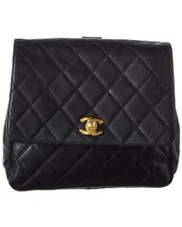 Chanel - Black Quilted Caviar Leather Backpack - Lyst