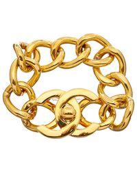 Chanel - Gold-tone Large Cc Turnlock Bracelet - Lyst