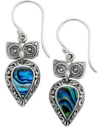 Samuel B. - Silver Abalone Owl Earrings - Lyst