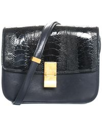 Céline - Black Embossed Leather & Ostrich Classic Box Flap Bag - Lyst