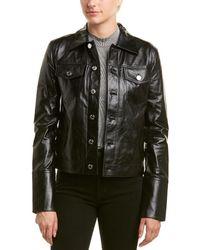 Helmut Lang - Denim Detail Leather Jacket - Lyst