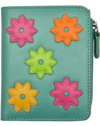 ILI - Leather Flower Power Mini Wallet With Zip Pocket - Lyst