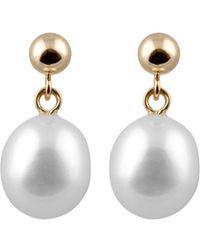 Splendid - 14k Yellow Gold 8-8.5mm Freshwater Pearl Drop Earrings - Lyst