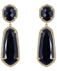Sparkling Sage - 14k Yellow Gold Plated Black Opal Drop Earrings - Lyst
