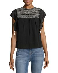 Banjanan - Cap Sleeve Embroidered Top - Lyst