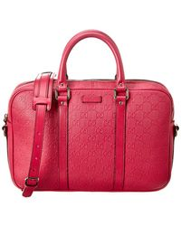 Gucci Pink Ssima Leather Briefcase