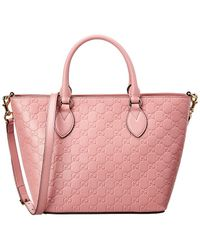 Gucci - Pink Ssima Leather Tote - Lyst