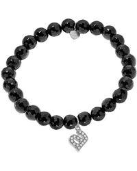 Jane Basch - 14k Diamond & Onyx Initial Stretch Bracelet (a-z) - Lyst