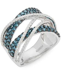 Effy 14k Diamond & Blue Diamond Crossover Ring