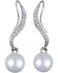 Mikimoto - 18k White Gold 0.40 Ct. Tw. Diamond & 11-12mm Pearl Drop Earrings - Lyst