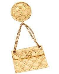 Chanel - Gold-tone Flap Bag Pin - Lyst