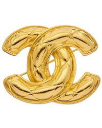 Chanel - Gold-tone Quilted Cc Pin - Lyst