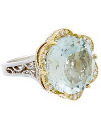 Tacori - Seafoam Mint 18k & Silver 13.13 Ct. Tw. Diamond & Prasiolite Ring - Lyst
