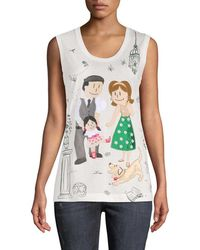 Dolce & Gabbana - Family Graphic Embellished Tank - Lyst