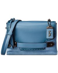 eac43423 COACH Swagger Flower Leather Crossbody Bag in Blue - Lyst