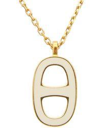 Hermès - Gold-tone & White Ename Chained Ancre Necklace - Lyst