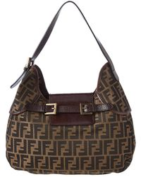 Fendi - Brown Zucca Canvas Hobo Bag - Lyst
