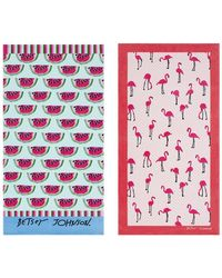 Betsey Johnson - Watermelon Picnic/flamingo Set Of 2 Strut Beach Towels - Lyst
