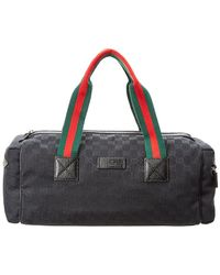 Gucci - Black GG Canvas & Leather Web Duffle Bag - Lyst