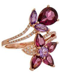 Effy - Fine Jewellery 14k Rose Gold 5.43 Ct. Tw. Diamond & Gemstone Floral Ring - Lyst