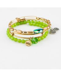 """ALEX AND ANI - Set Of 3 """"green Beaded"""" Expandable Bangles - Lyst"""