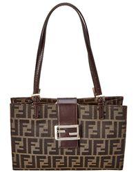 Fendi - Brown Zucca Canvas Shoulder Bag - Lyst