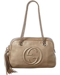 Gucci - Bronze Calfskin Leather Soho Chain Shoulder Bag - Lyst