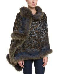 La Fiorentina - Women's Navy & Olive Trimmed Wool Wrap - Lyst