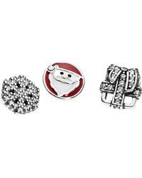 PANDORA - Christmas Memories Silver Cz & Enamel Set Of Three For Petite Locket - Lyst