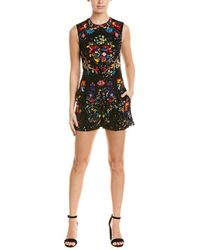 26e70c8de6 Lyst - Valentino Short-sleeve Lipstick-embroidered Playsuit in Black