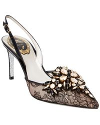 Rene Caovilla - Embellished Lace Slingback - Lyst