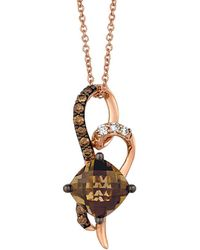 Le Vian - ® Chocolatier® 14k Rose Gold 2.18 Ct. Tw. Diamond & Smoky Quartz Necklace - Lyst