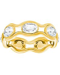 Swarovski - Crystal Plated Stainless Steel Wavey Ring - Lyst