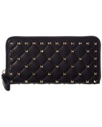 Valentino - Rockstud Spike Leather Zip Around Wallet - Lyst
