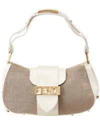 31980b15eb5a Fendi - White Zucca Canvas   Leather Spiked Handbag - Lyst