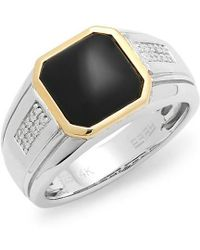 Effy - 14k & Silver Diamond & Onyx Ring - Lyst
