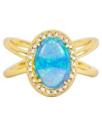 Melinda Maria - Luna 18k Plated Opal Cz Statement Ring - Lyst