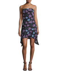 Versace - Foliage Print Mini Dress - Lyst