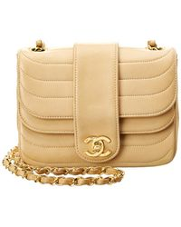 d4555d3a220 Chanel - Beige Lambskin Leather Double Round Mini Flap Bag - Lyst