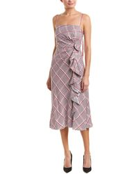Prabal Gurung - Side Ruched Ruffle Midi Sun Dress - Lyst