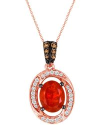 Le Vian - ® 14k Rose Gold 1.20 Ct. Tw. Diamond & Fire Opal Necklace - Lyst