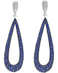 Effy - Fine Jewellery 14k 1.55 Ct. Tw. Diamond & Sapphire Drop Earrings - Lyst